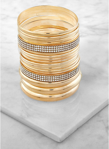 Set of Metallic Rhinestone Bangles,GOLD,large