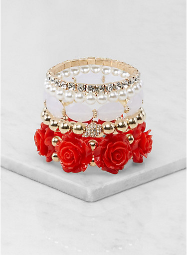 Metallic Rhinestone Beaded Stretch Bracelets,RED,large