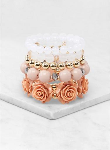 Set of 5 Beaded Stretch Bracelets | 1194074984088,GOLD,large