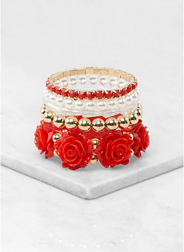 Rose Beaded Stretch Bracelets,RED,large