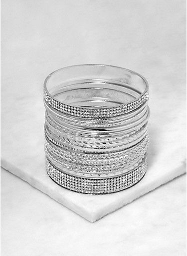 Assorted Metallic Bangles,SILVER,large