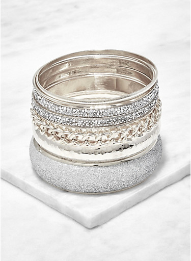Plus Size Glitter and Metallic Bangles,SILVER,large