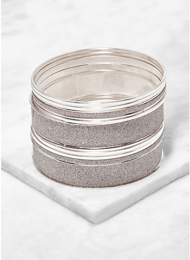 Plus Size Set of Glitter and Metallic Bangles,SILVER,large
