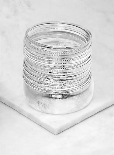 Plus Size Set of Metallic Bangles,SILVER,large