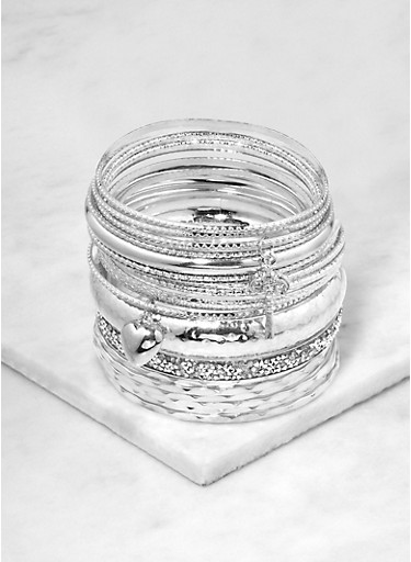 Plus Size Textured Metallic and Druzy Charm Bangles,SILVER,large