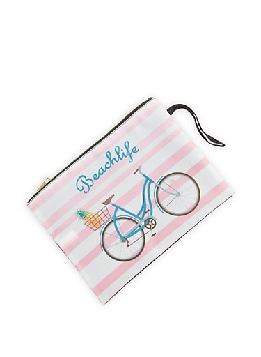 Bicycle Graphic Pouch,PINK,large
