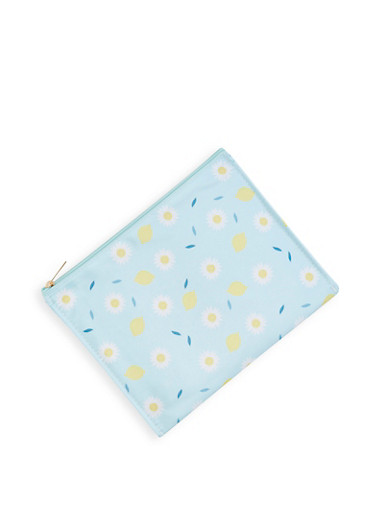 Lemon Daisy Print Swimsuit Bag,BABY BLUE,large