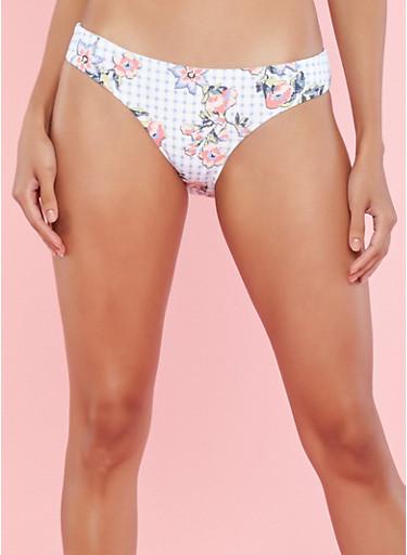 Reversible Floral Print Bikini Bottom,BLUE,large
