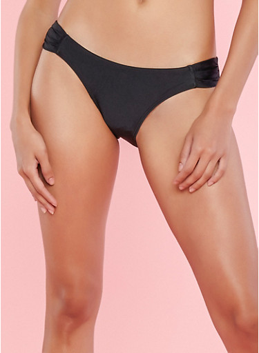 Black Ruched Side Bikini Bottom,BLACK,large
