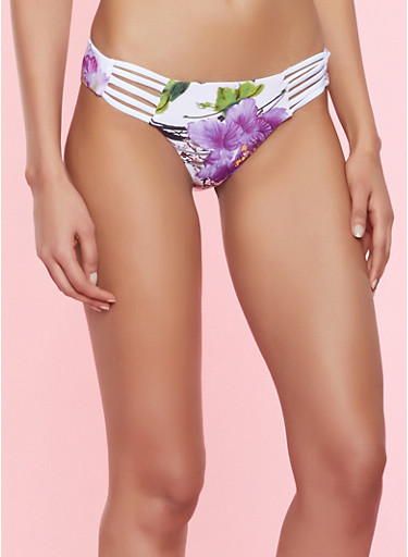 Caged Floral Bikini Bottom,WHITE,large