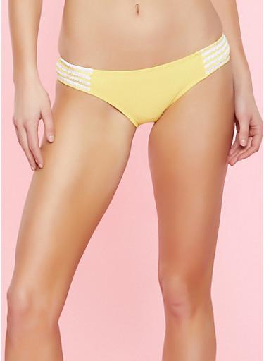 Striped Trim Bikini Bottom,YELLOW,large