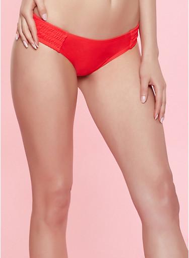 Smocked Trim Bikini Bottom,RED,large