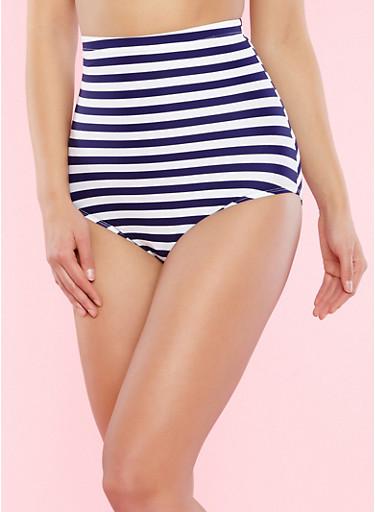 Striped High Waisted Bikini Bottom,NAVY,large