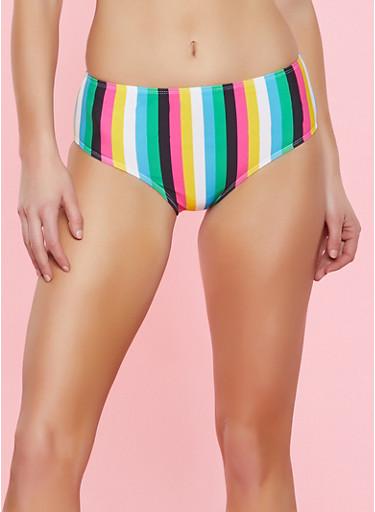 Striped High Waisted Bikini Bottoms,BLACK,large