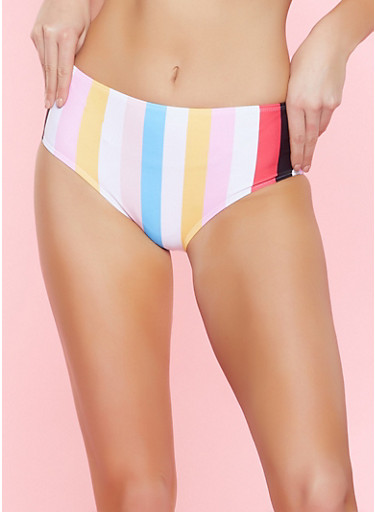 Striped High Waisted Bikini Bottoms,WHITE,large