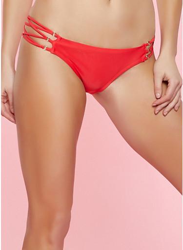 Lace Up Bikini Bottom,RED,large