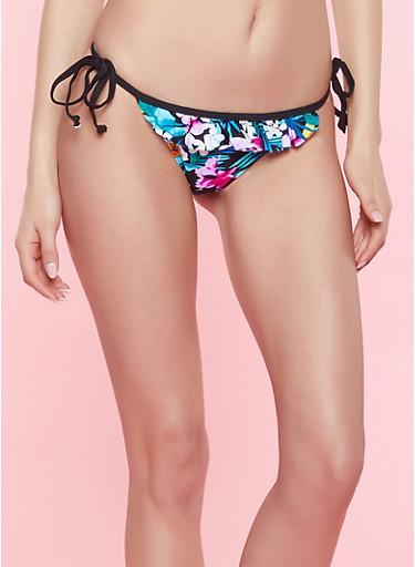 Floral Ruffled Bikini Bottom,BLACK,large