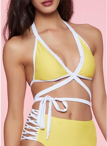 Contrast Trim Wrap Around Bikini Top | Yellow,YELLOW,large