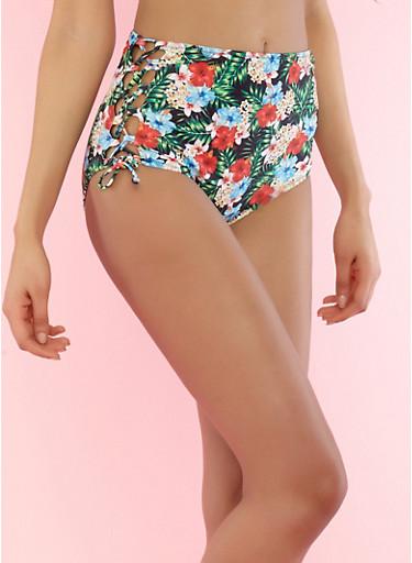 Printed Lace Up Side Bikini Bottom,GREEN,large