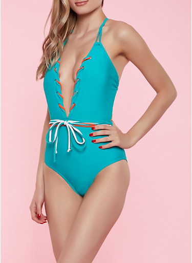 Plunge Lace Up One Piece Swimsuit,GREEN,large