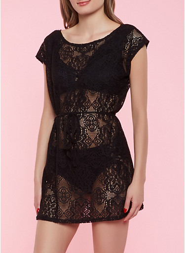 Tie Waist Lace Cover Up,BLACK,large