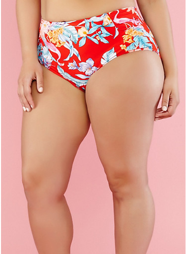 Plus Size Floral Bikini Bottom,RED,large