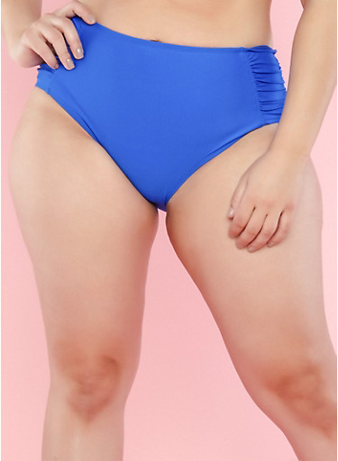 Plus Size Cobalt High Waisted Ruched Bikini Bottom,COBALT,large