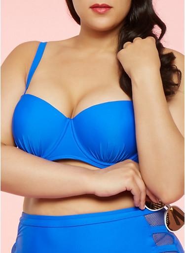 Plus Size Padded Bandeau Bikini Top,COBALT,large