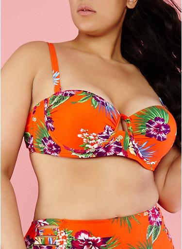 Plus Size Floral Bikini Top,RED,large