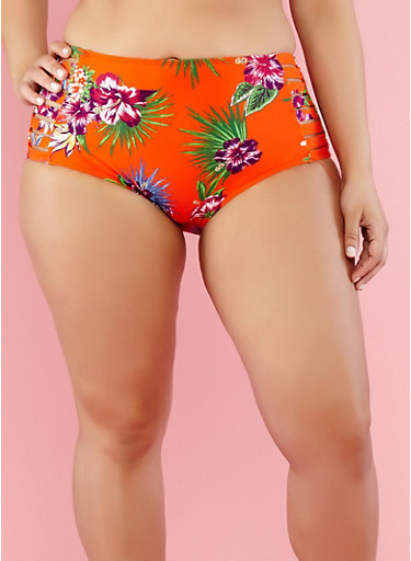 Plus Size Floral Caged Bikini Bottom,RED,large