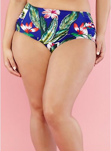 Plus Size Floral High Waisted Bikini Bottom,BLUE,large