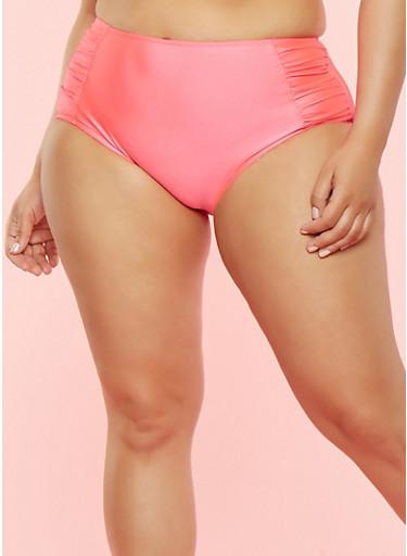 Plus Size High Waisted Ruched Bikini Bottom,CORAL,large