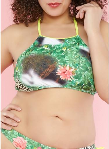Plus Size Tropical Print Ruffle Back Bikini Top,GREEN,large
