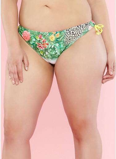 Plus Size Tropical Print Side Tie Bikini Bottom,GREEN,large