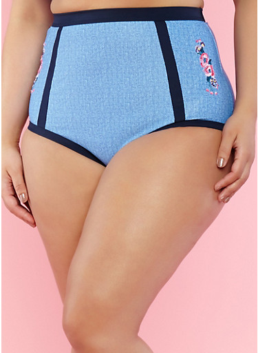 Plus Size Embroidered High Waisted Bikini Bottom,DENIM,large