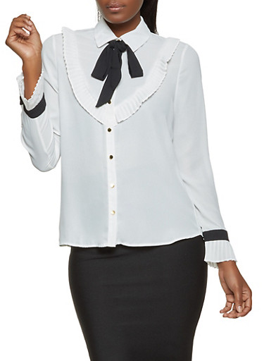 Pleated Contrast Tie Neck Shirt,WHITE,large