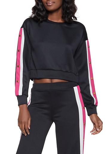 Scuba Striped Sleeve Detail Sweatshirt,BLACK,large