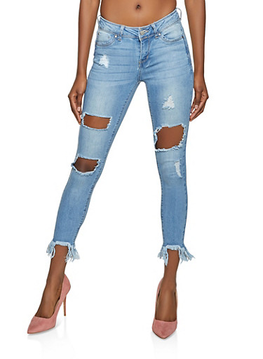 WAX Ripped Push Up Skinny Jeans,LIGHT WASH,large