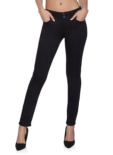 WAX 2 Button Skinny Jeans,BLACK,large