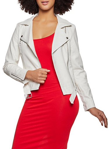 Belted Zipper Detail Moto Jacket,WHITE,large