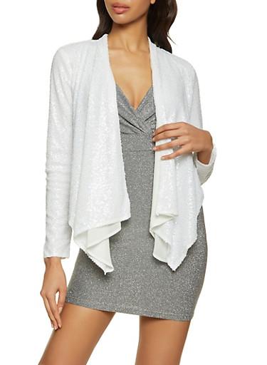 Sequin Flyaway Blazer,WHITE,large