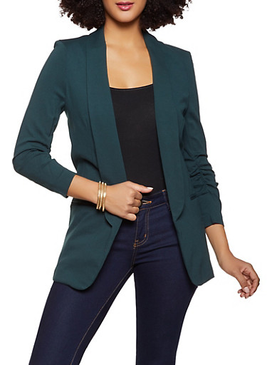 Ruched Sleeve Longline Blazer,GREEN,large