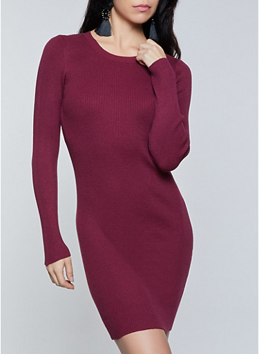 Ribbed Knit Midi Sweater Dress,BURGUNDY,large