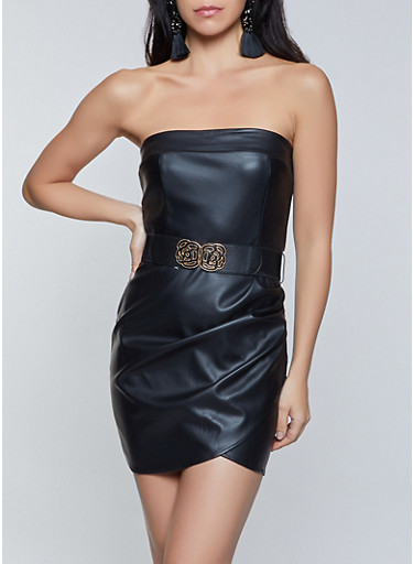 Faux Leather Mini Tube Dress,BLACK,large