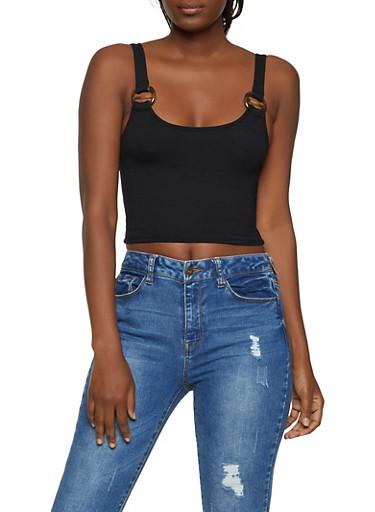 Sleeveless Ribbed Knit Crop Top,BLACK,large
