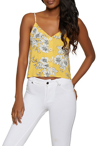 Floral Button Detail Cami,MUSTARD,large