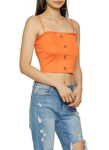 Rib Knit Lettuce Edge Cropped Cami,ORANGE,large