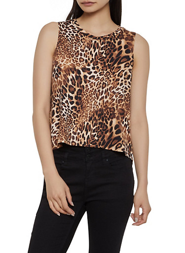 Leopard High Low Tank Top,BROWN,large