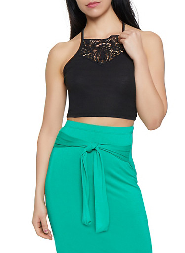 Crochet Detail Cropped Cami,BLACK,large