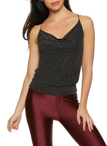 Shimmer Knit Cami,BLACK,large